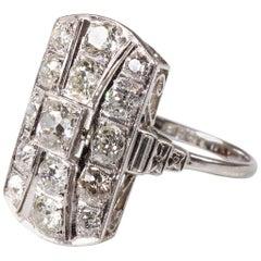Original Art Deco Platinum Diamond Dress Ring 2.98 Carat