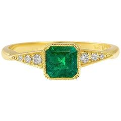 Cushla Whiting GIA certif. 0.51 Carat Muzo Emerald, Diamond Engagement ring