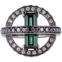 Cushla Whiting 'Orbit' Tourmaline Black White Diamond Ring
