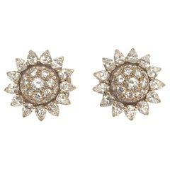 Cartier Sunflowers Diamond Ear Clips
