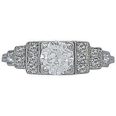 Art Deco Antique .50 Carat Diamond Platinum Engagement Ring