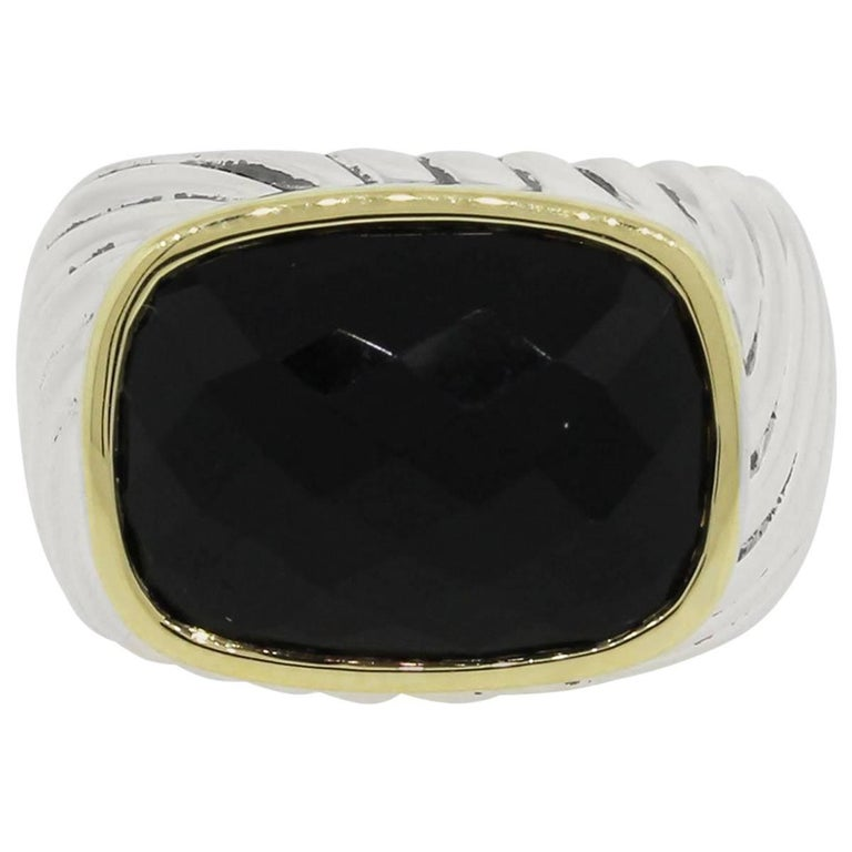 David Yurman Faceted Black Onyx Sterling Silver Yellow Gold Ring