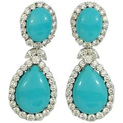 Diamond Turquoise Pendant Earrings