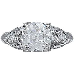 Art Deco .92 Carat Diamond Platinum Engagement Ring