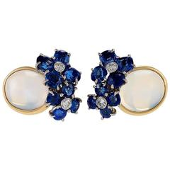 Mid-20th Century Moonstone Diamond Sapphire and Gold Earrings
