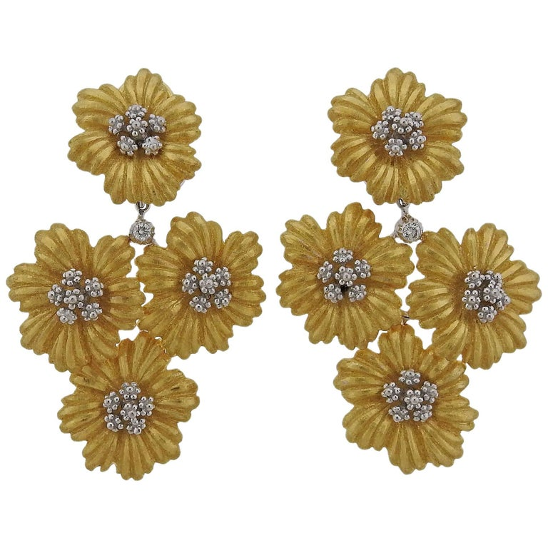 Buccellati Diamond Gold Flower Day Night Drop Earrings