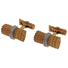 Tiffany & Co. Diamond Gold Cufflinks
