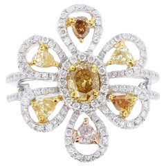 Fancy Pink Yellow Brown Diamond Flower Ring