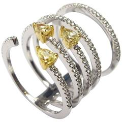Yellow Diamond Ring with Diamond Micro Pave in White Gold