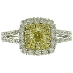 Yellow Diamond Double Halo Cocktail Ring in White Gold