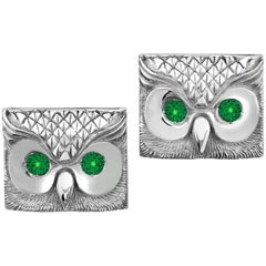 Marisa Perry's Emerald Owl Cufflinks in Sterling Silver Custom Order