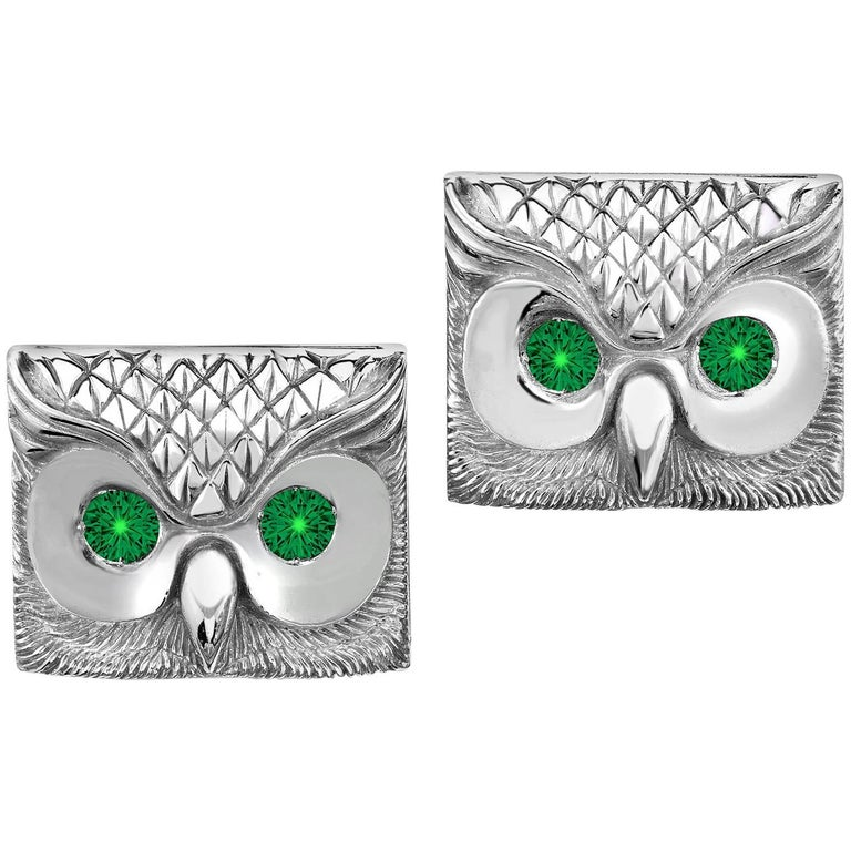 Marisa Perry's Emerald Owl Cufflinks in Sterling Silver 1