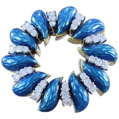 Tiffany & Co. Italian Diamond Enamel Wreath Gold Brooch