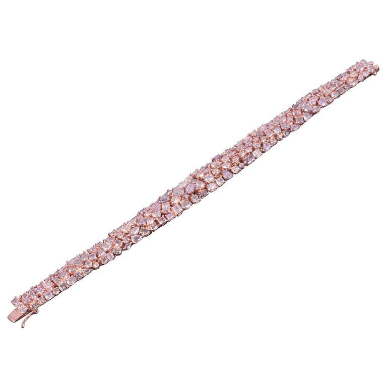 Magnificent Pink Diamond Rose Gold Bracelet For Sale