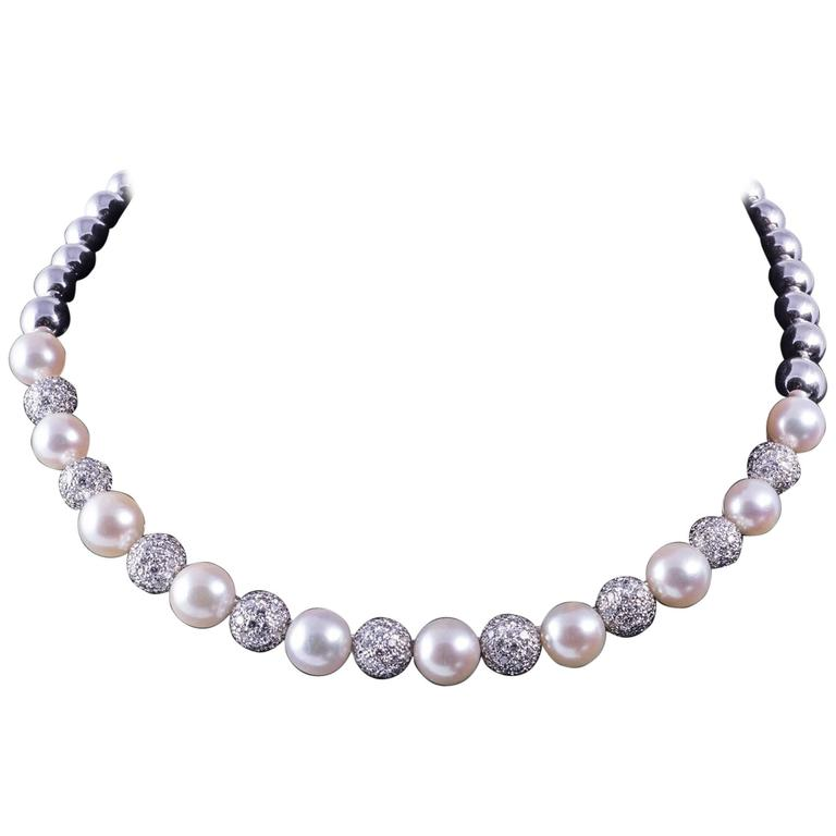Stefan Hafner Pearl Diamond White Gold Necklace For Sale
