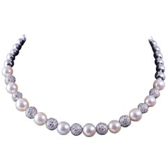 Stefan Hafner Pearl Diamond White Gold Necklace
