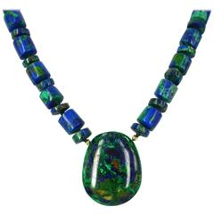 Azurite Malachite Lapis Lazuli Pendant Gold Necklace
