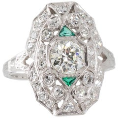 Original Art Deco Emerald Diamond  Platinum Plaque Ring