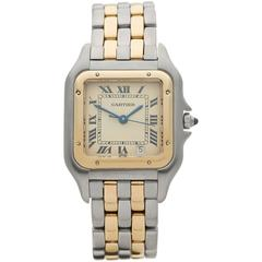 Cartier Panthere Stainless Steel and 18 Karat Yellow Gold Unisex 183949, 1990s