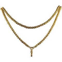 Antique Victorian French Long Gold Guard Necklace 18 Carat Solid Gold