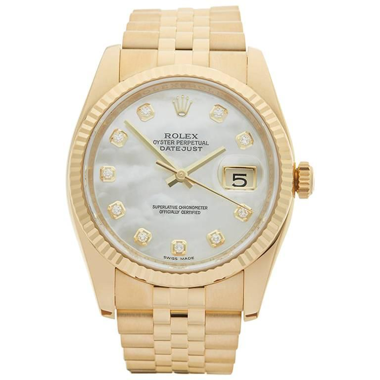 Rolex Datejust 18 Karat Yellow Gold Unisex 116238, 2013