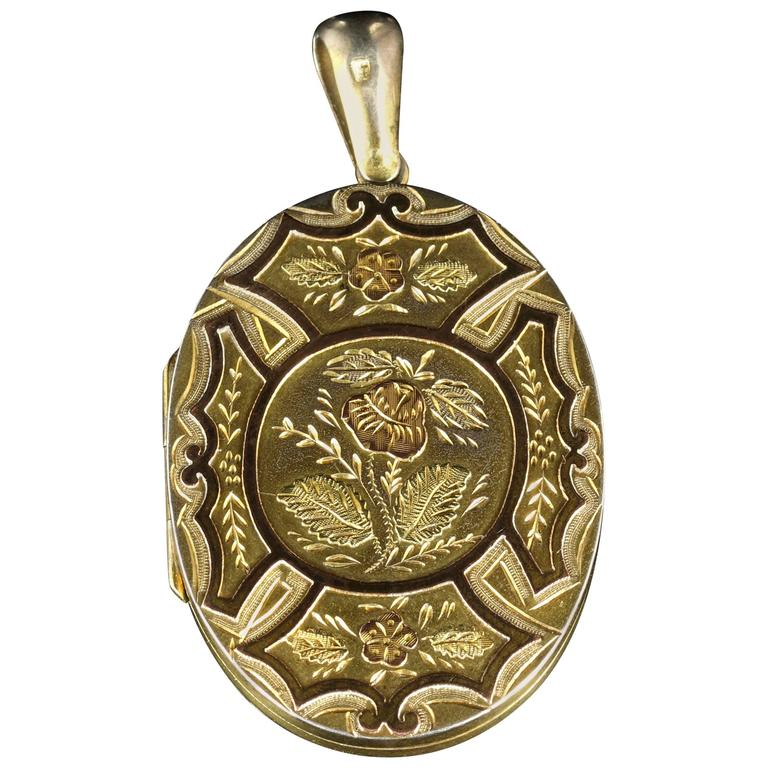 Antique Victorian Gold Silver Locket, circa 1880 For Sale