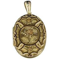 Antique Victorian Gold Silver Locket, circa 1880
