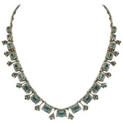 Luise Old Cut Emerald Diamond Silver Gold Necklace
