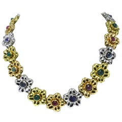 18 kt Gold Sapphire Ruby Emerald Necklace