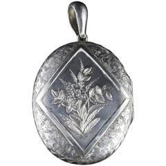 Antique Victorian Large Silver Locket Dated 1880