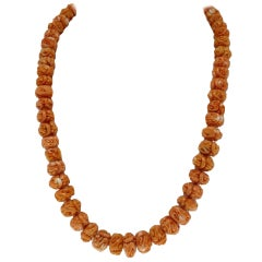 Engraved Orange Spheres Row Corals, 18K Yellow Gold Closure, Beaded Necklace
