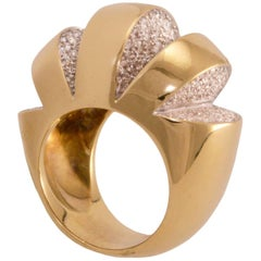Diamond and Gold Geometric Cut-Out Cocktail Ring