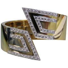 David Webb Diamond Gold Cuff Bracelet