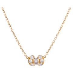 Van Cleef & Arpels Diamond and Yellow Gold Small Bow Pendant Necklace