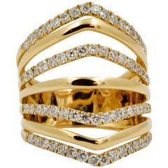 Diamond 18 kt Yellow Gold Seven Band Ring