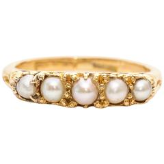 1890s Seed Pearl Yellow Gold Ring