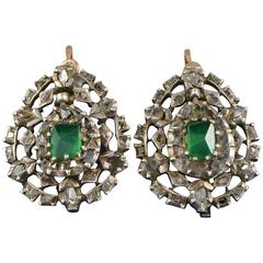Emerald Diamond Georgian Girandoles Earrings