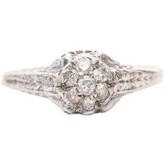 1920s Art Deco .30 Carat Diamond and 18 Karat White Gold Ring