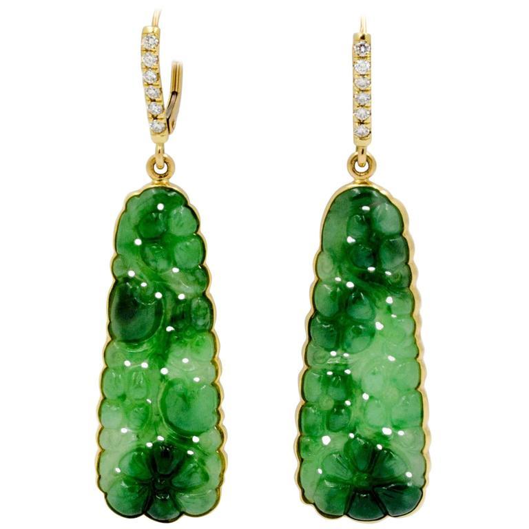 Burmese Carved Green Jade Earrings For