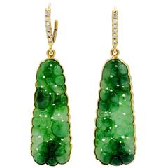 Burmese Carved Green Jade Earrings