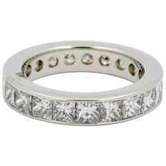 4.0 carats Princess Cut Diamonds Eternity Platinum Band