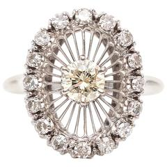 1960s Fancy Yellow Diamond Gold Halo Ring