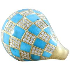Diamond Turquoise Checkered Dome Ring