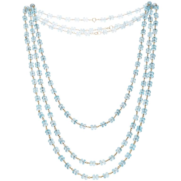 1960s Briolette Blue Topaz Gold Necklace Strand