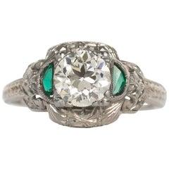 GIA Certified Circular Brilliant Emerald Diamond White Gold Engagement Ring