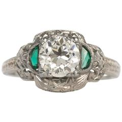 GIA Certified Circular Brilliant Emerald Diamond White Gold Engagement Ring