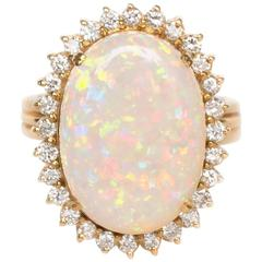 Natural Opal Round Brilliant Diamond Yellow Gold Ring