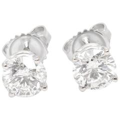 Round Brilliant Cut 2.09 Carat Diamond White Gold Stud Earrings