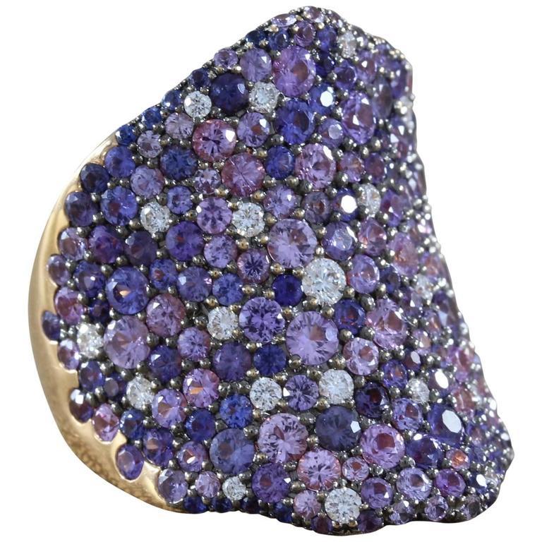 Modern Multi-Color Sapphire Diamond Gold Cluster Ring
