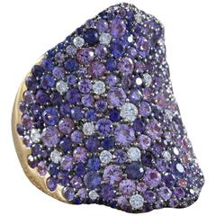 Modern Multi-Color Sapphire Diamond Gold Cluster Ring